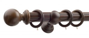 50mm Monarch Countess Antique Walnut Complete Curtain Pole Set 160CM