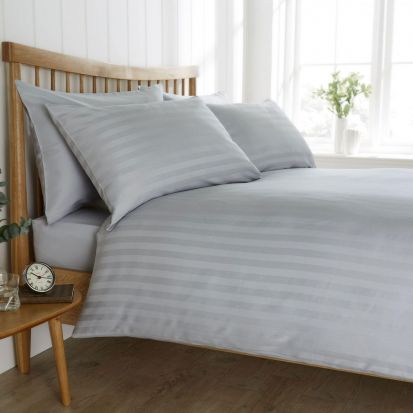 Behrens Heritage Coll. Satin Stripe Pale Grey Duvet Cover Set King