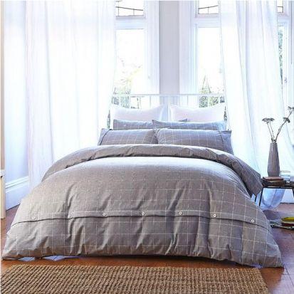 Bianca Cottonsoft Brushed Cotton Print Grey Duvet Cover Set Superking