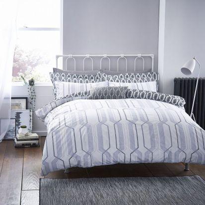 Bianca Cottonsoft Geo Duvet Cover Set Grey - Superking