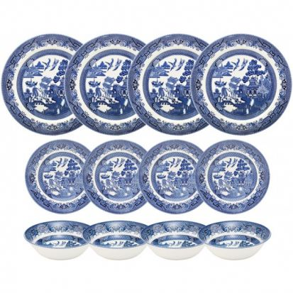 Churchill Blue Willow 12 Piece Tableware Set