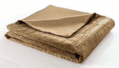 Clarke & Clarke Naples Gold Velvet Throw - 130cm x 230cm