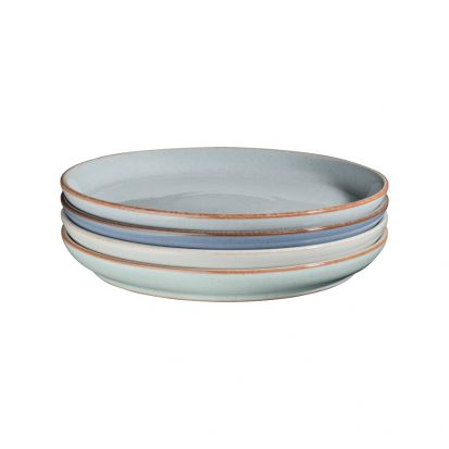 Denby Always Entertaining Blues 4 Piece Medium Coupe Plate Set