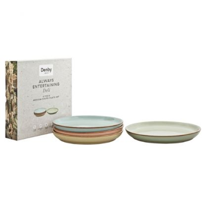 Denby Always Entertaining Deli 4 Piece Medium Coupe Plate Set