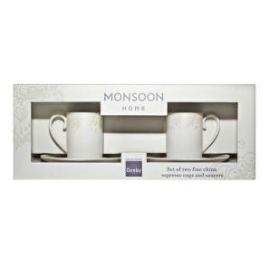 Denby Monsoon Lucille Gold Espresso Cup & Saucer
