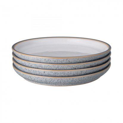Denby Studio Grey Set of 4 Medium Coupe Plates Quartz White