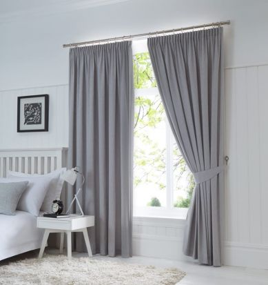 Dijon Ready-Made Blackout Pencil Pleat Curtains - Silver 90