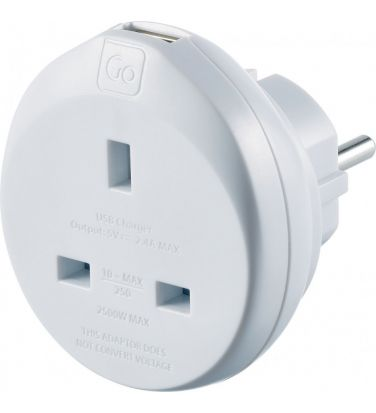 Go Travel UK to Europe Adaptor + USB