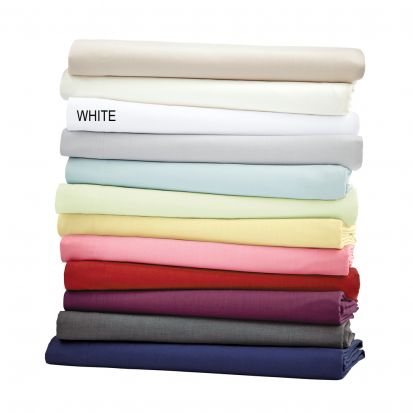 Helena Springfield Plain Dye White Base Valance Sheet - Superking