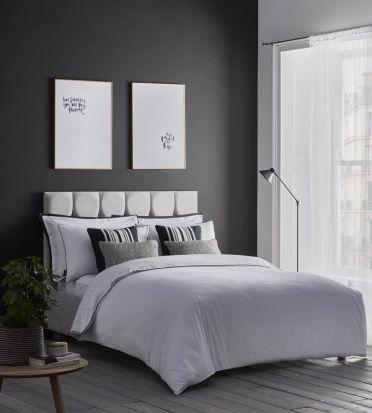 Karen Millen Herringbone Jacquard White Duvet Cover Set - Superking