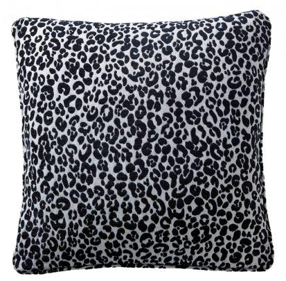 Karen Millen Leopard Chenille Square Cushion - Midnight/Dove
