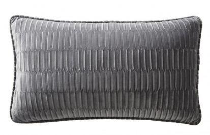 Karen Millen Velvet Pleat Boudoir Cushion - Charcoal