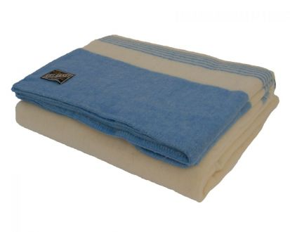 Killarney 100% Pure New Wool Blanket White/Blue King