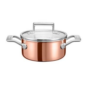 Kitchen Aid 3 Ply Copper 16cm Saucepan with Lid