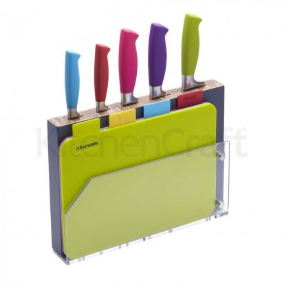 Kitchen Craft Colourworks 9 Piece Chopping Board and Knife Set