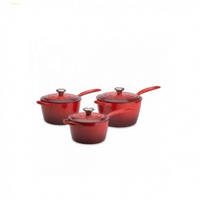 Le Creuset Signature Cast Iron Saucepan Set - Cerise