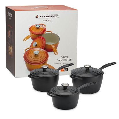 Le Creuset Signature Cast Iron Saucepan Set - Satin Black