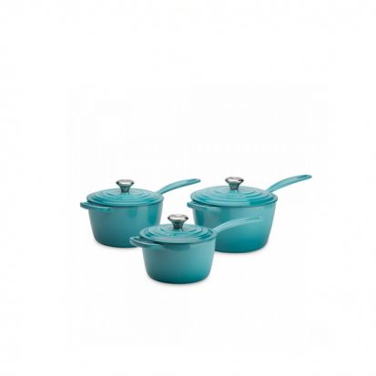 Le Creuset Signature Cast Iron Saucepan Set - Teal