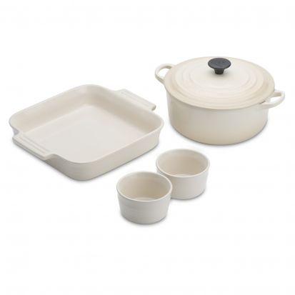 Le Creuset Stoneware & Cast Iron Starter Set - Almond