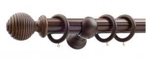 Monarch Earl Antique Walnut Complete Curtain Pole Set 240CM
