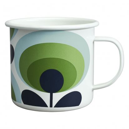 Orla Kiely 70s Flower Enamel Mug - Apple Green