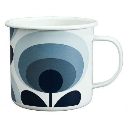 Orla Kiely 70s Flower Enamel Mug - Slate