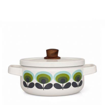 Orla Kiely 70s Multi-Flower Medium Enamel Casserole Dish