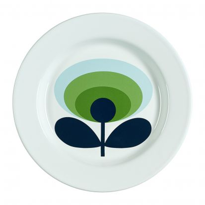 Orla Kiely 70s Oval Flower Enamel Plate - Apple Green