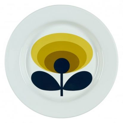 Orla Kiely 70s Oval Flower Enamel Plate - Dandelion