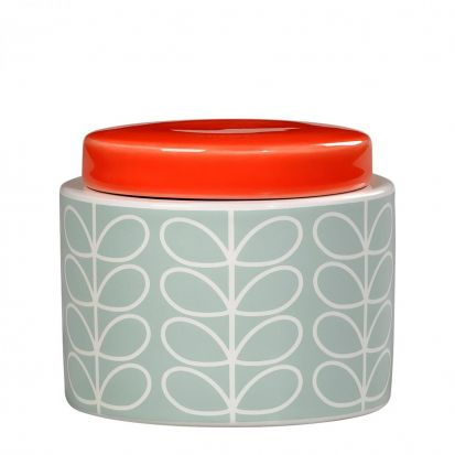 Orla Kiely Linear Stem Small Storage Jar - Duck Egg