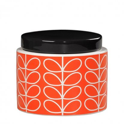Orla Kiely Linear Stem Small Storage Jar - Persimmon