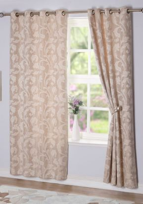 Rochelle Eyelet Curtains Sand 90