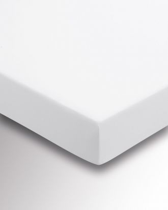 Sanderson 220 Thread Count Plain Dye White Fitted Sheet - Double