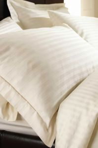 Sateen Stripe Ivory Duvet Cover Set - Single