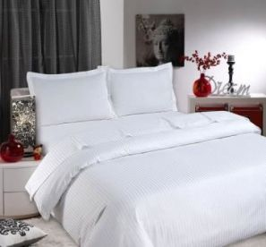 Sateen Stripe White Duvet Cover Set - Single