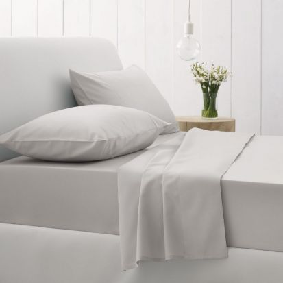 Sheridan 500 Thread Count Cotton Sateen Superking Flat Sheet Silver