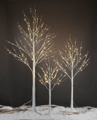 Snowtime 1.2m Birch Tree with 48 Warm White LED Lights