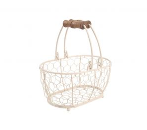 T&G Provence Wireware Small Oval Basket Cream