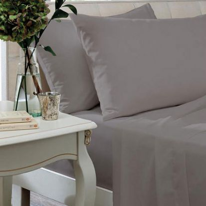 The Linen Consultancy 200 Thread Count Silver Flat Sheet - Single