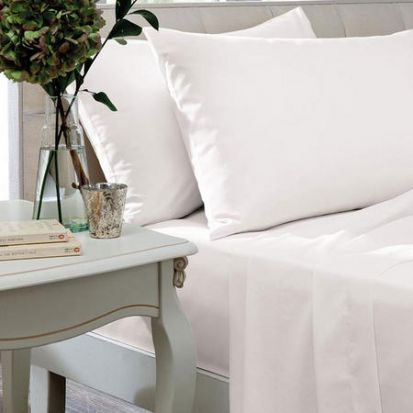 The Linen Consultancy 200 Thread Count White Fitted Sheet - Superking