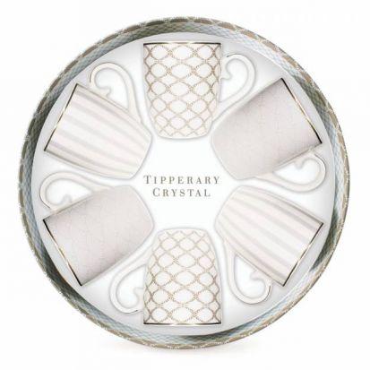 Tipperary Crystal Hat Box Set of 6 Mugs - Grey