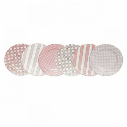 Tipperary Crystal Hat Box Spots and Stripes Set of 6 Side Plates
