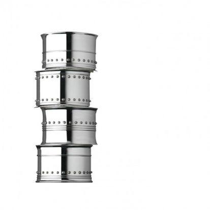 Vera Wang Grosgrain Silver Napkin Rings Set of 4