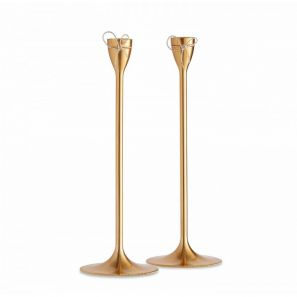 Vera Wang Love Knots Taper Candle Holder Gold Metal Pair