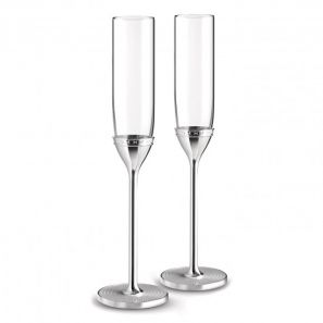 Vera Wang With Love Nouveau Silver Toasting Flute Pair