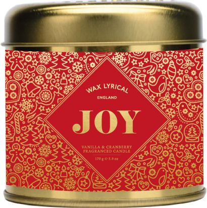 Wax Lyrical Joy Small Candle Tin - Vanilla & Cranberry