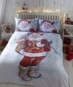 Bedmaker Father Christmas Flannelette Duvet Cover Set Double