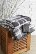 Behrens Printed Sherpa Throw Grey Check 130x180cm