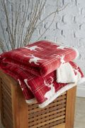 Behrens Printed Sherpa Throw Tartan Stag 130x180cm