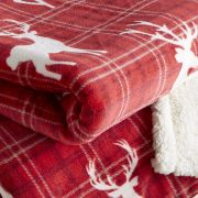 Behrens Printed Sherpa Throw Tartan Stag 130x180cm 2